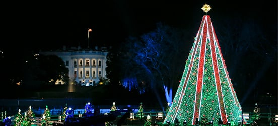 he National Christmas Tree glowing bright during the 2018 lighting ceremony, with the White House gleaming in the background