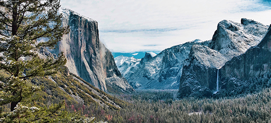 A view of snow dusted evergreens in the base of Yosemite Valley with mountains lining the edge in Yosemite National Park