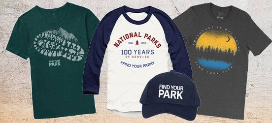 A collage of t-shirts from the Find Your Park store, including the hat mentioned in the promotion below