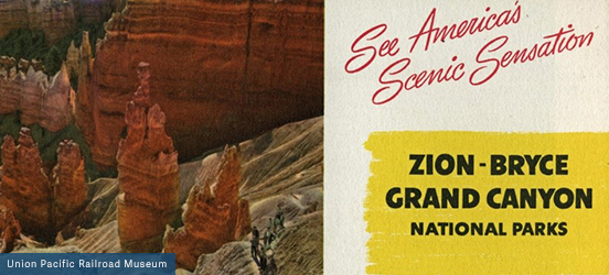 A vintage postcard, the left half is an aged picture of the red rock spires, the right half has a beige background with the words See America's Scenic Sensation in a red script and just below it are the words Zion-Bryce Grand Canyon National Parks in a black, blocky font below