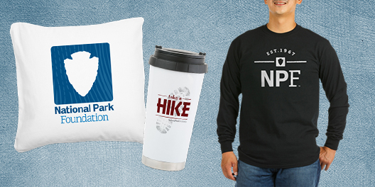 A collage of National Park Foundation merchandise including a pillow, travel mug, and long sleeved t-shirt