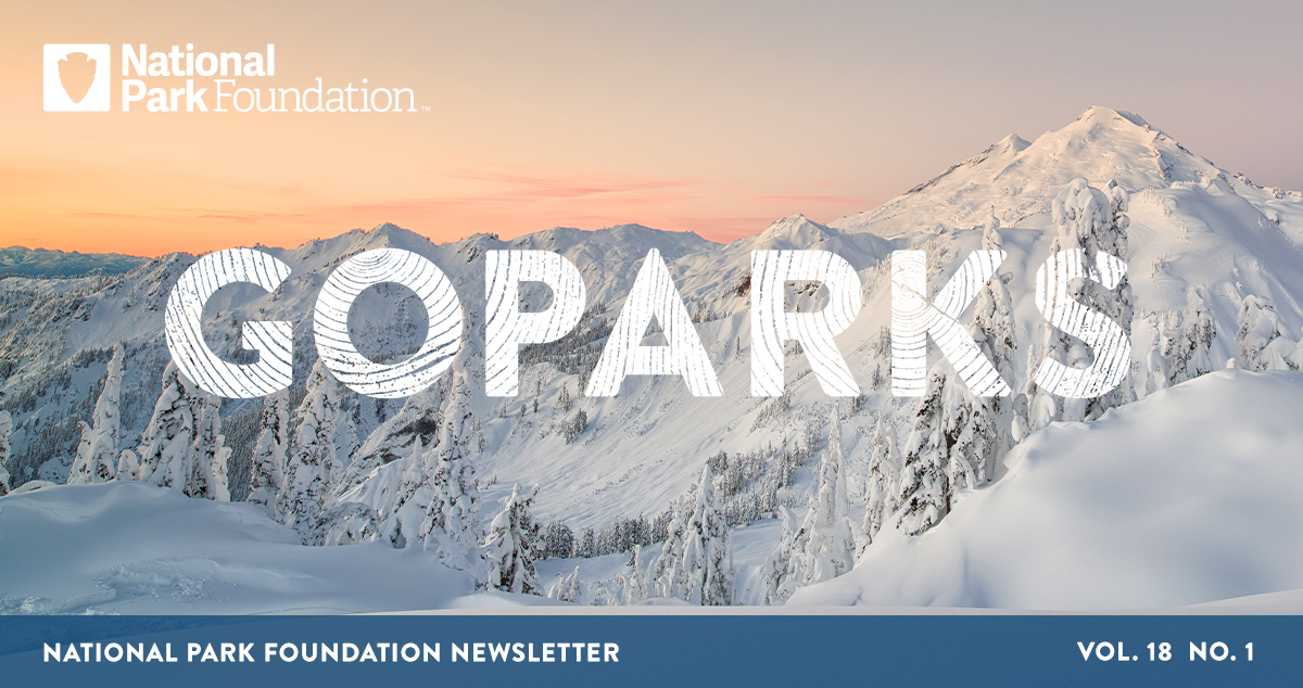 National Park Foundation, GoParks newsletter graphic cover image of snow covered mountain tops at North Cascades National Park with a wash of color on the horizon from the sunrise