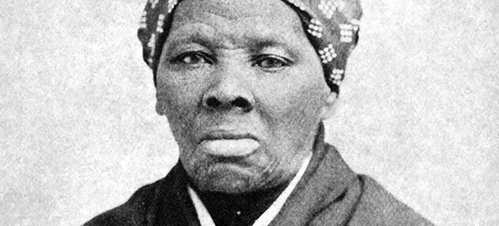 A historic, black and white portrait photo of Harriet Tubman