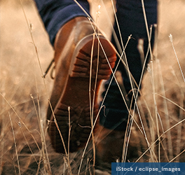 a view of a person's hiking boots as they walk through tall, dried prarie grass