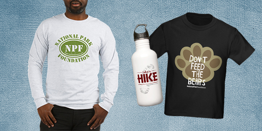 A collage of National Park Foundation merchandise including a sleeved t-shirt, a waterbottle, and a child's t-shirt