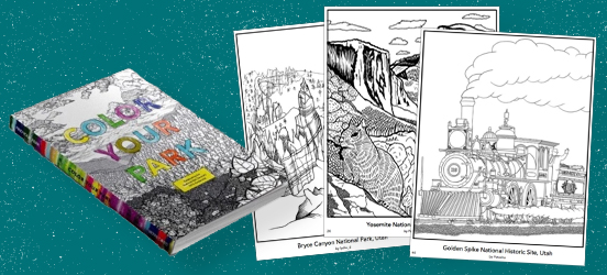 A collage of the coloring book and a few exampe pages displayed next to it