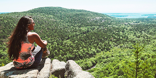 A woman sits on a rock at an overlook with a beautiful view of lush trees and the Atlantic ocean at the horizon at Acadia National Park