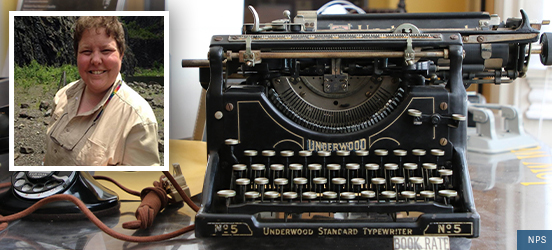 A picture of Megan Springate smiling inset in a larger picture of an old typewriter and rotary phone on a desk at Belmont-Paul Women's Equality National Monument