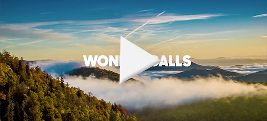 A still image taken from the Wonder Calls video that shows the fog rolling through the Great Smoky Mountains