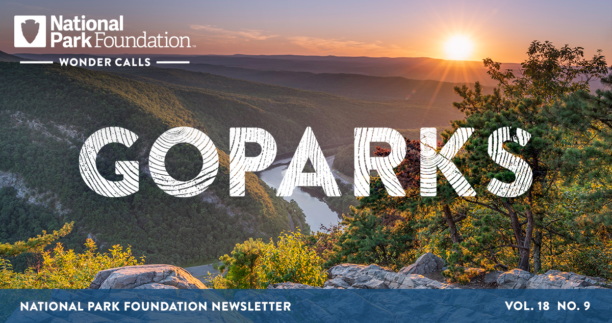 National Park Foundation, GoParks newsletter graphic cover image of a hill-top view, overlooking the tree covered hills lining the Delaware River during sunset at the Delaware Water Gap National Recreation Area
