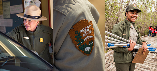 A collage of three images, showing a park ranger greating a car pulling into a park, the shoulder NPS arrowhead patch on a ranger's uniform, and a ranger carrying fishing nets and a clip board while a class of students walk down the boardwalk behind her
