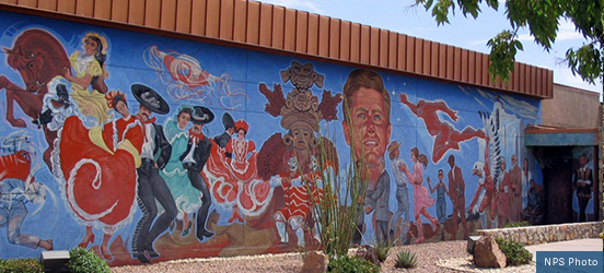 A large mural depicting historic icons of Mexico and the United States at Chamizal National Memorial