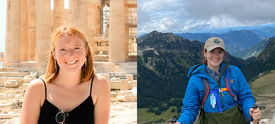 Two pictures collaged side by side, showing the History Interns. The left picture is of McKenzie Hitchcock smiling in front of column ruins. The right picture is of Dorien Scheets posing while hiking a mountain.