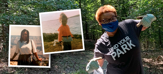 LaTresse in a wooded park, picking up trash while wearing gloves, a mask, and a Find Your Park t-shirt; two photos are collaged on top, both of younger LaTresse. The first is of LaTresse as a teenager, smiling at the Grand Canyon; the second is of LaTresse as a child, wearing a bright orange jacket while standing on a grassy by a large body of water