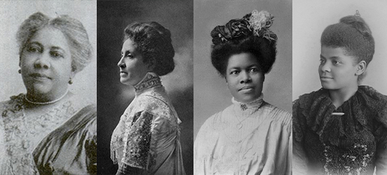 Four historic portraits, side by side, from left to right: Mary Burnett Talbert, Mary Church Terrell, Nannie Helen Burroughs, and Ida B. Wells