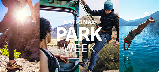 The National Park Week logo on top of four images put together. The first image is a low angle of a hiker on a trail in Bryce Canyon National Park. The second, a woman observing a bison through her car window in Yellowstone National Park. The third, a climber descending a large rock formation in Joshua Tree National Park. The fourth, a swimmer diving off a dock into a lake at Glacier National Park