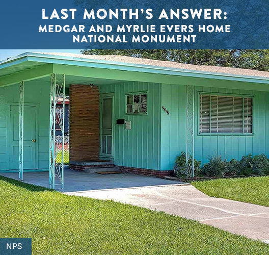 A teal blue, ranch style home is the Medgar and Myrlie Evers Home National Monument