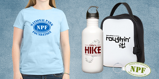 A collage of NPF merchandise, including a t-shirt, a water bottle, a thermal lunch case, and a keychain