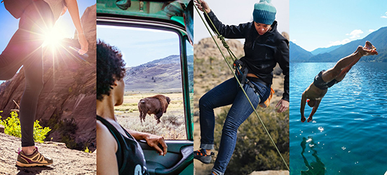 A collage of images: the first image is a low angle of a hiker on a trail in Bryce Canyon National Park. The second, a woman observing a bison through her car window in Yellowstone National Park. The third, a climber descending a large rock formation in Joshua Tree National Park. The fourth, a swimmer diving off a dock into a lake at Glacier National Park
