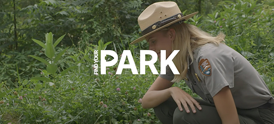 Jessie Snow kneels down in some green brush in Great Smoky Mountains National Park, the graphic Find Your Park logo is display on top of the image