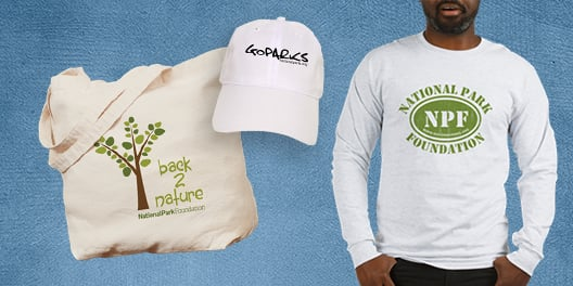 A collage of NPF merchandise, including a tote bag, a baseball hat, and a long sleeved t-shirt