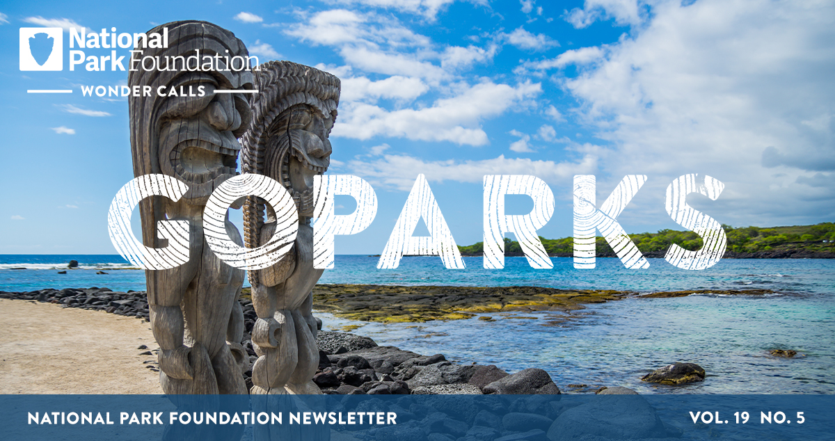 National Park Foundation, GoParks newsletter graphic cover image of two carved, wooden statues, known as Kiʻi, on the beach with the blue ocean and a lush, green island behind them at Puʻuhonua O Hōnaunau National Historical Park