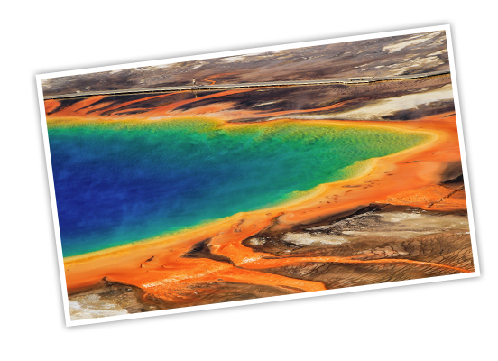 The rainbow of colors in Grand Prismatic Spring at Yellowstone National Park