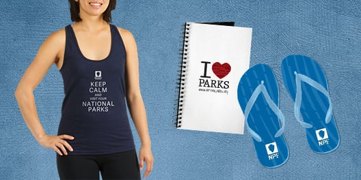 A collage of NPF merchandise, including a tank top, a notebook, and a pair of flip flops