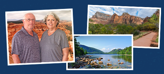 A collage of three images: one of Marlene Kennedy and Alex Preisssmiling in front of a backdrop of Bryce Canyon National Park, and two landscape images of Acadia National Park and Zion National Park