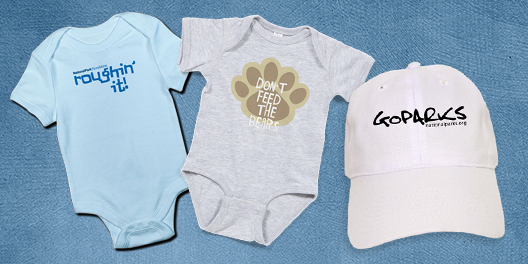 A collage of NPF merchandise, including two baby onsies and a hat