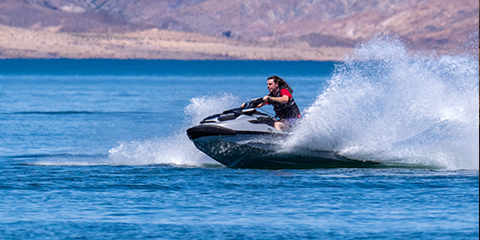 A person rides a jet ski at Lake Mead National Recreation Area