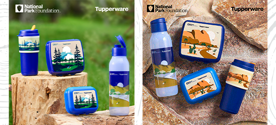 Two images showing the different NPF branded products from the new Tupperware collection, including a water bottle, lunchbox, tumbler cup and more