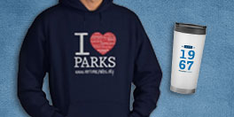 national park foundation gift collage with i heart parks hoodie and 1967 travel mug