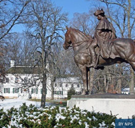 Equestrian statue of George Washington on a snowy day in Morristown National Historical Park