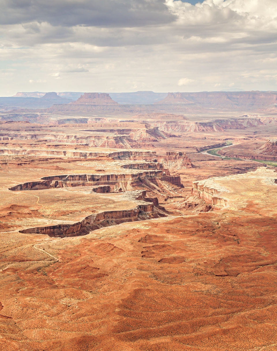 A vast river canyon winds through Canyonlands National Park