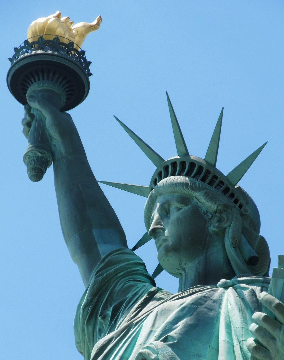 A close up of the Statue of Liberty's crown.