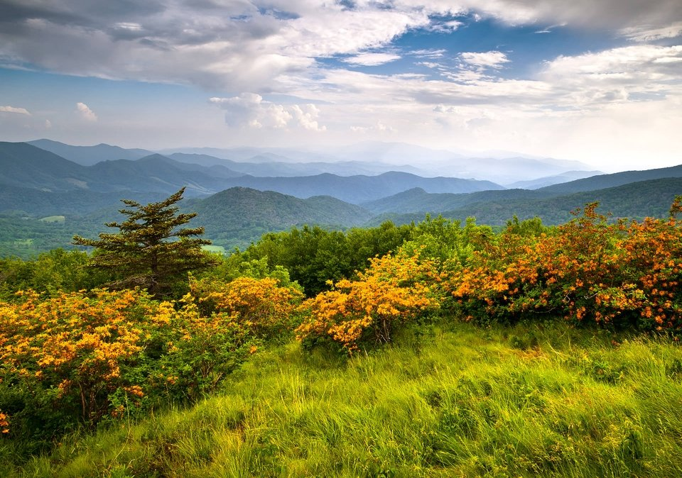 The Appalachian Trail winds through the Smoky Mountains