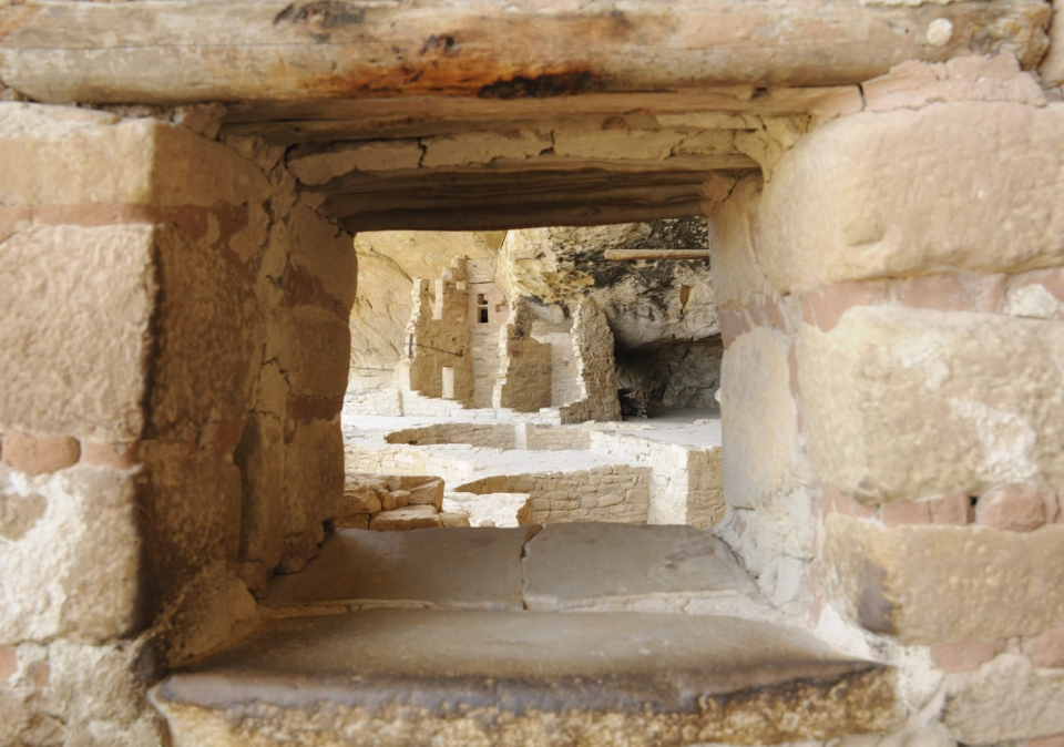 A view through the ruins at Mesa Verde