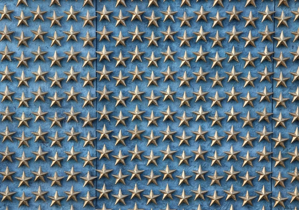 Lines of Freedom stars on wall of memorial