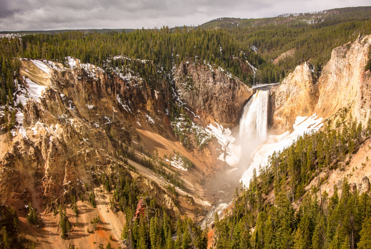 Upper Falls at a snow-dusted Yellowstone National Park