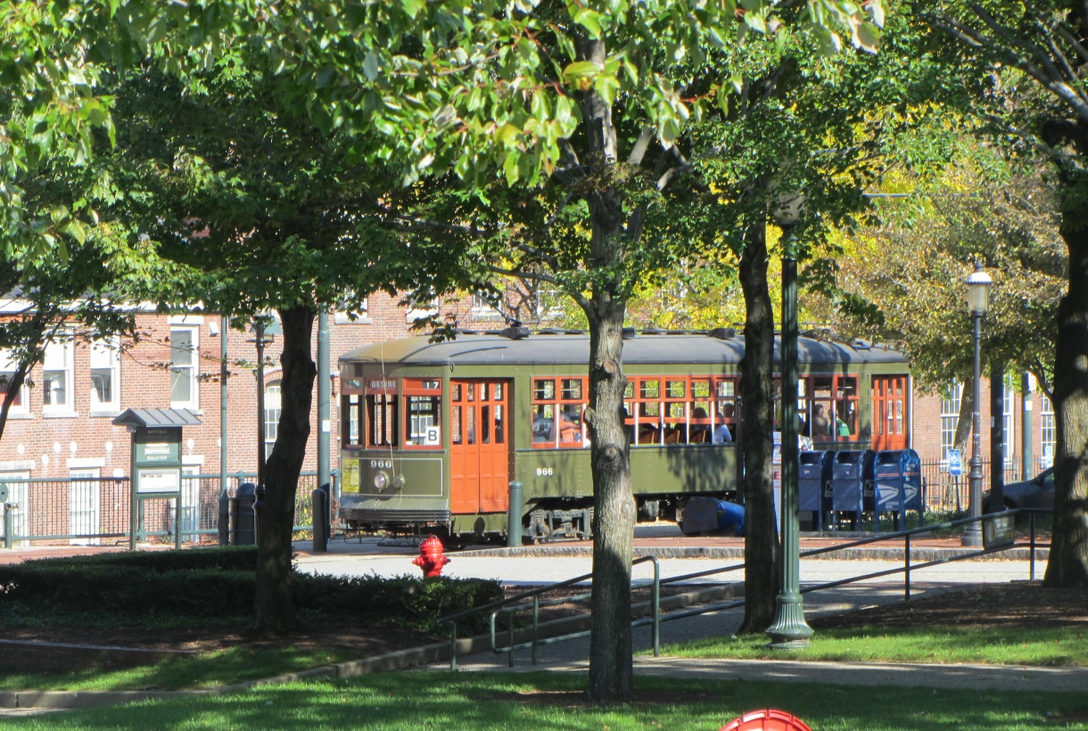 A trolley near Lowell National HIstorical Park