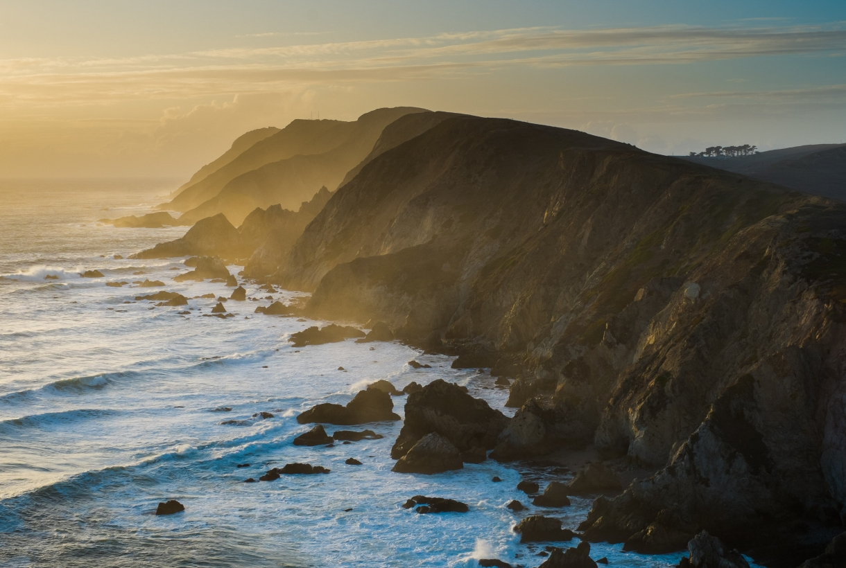 Sunset on the misty rugged California coastline at Point Reyes National Seashore