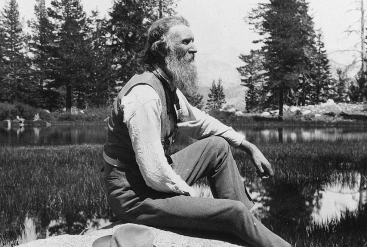Black and white image of side image of John Muir