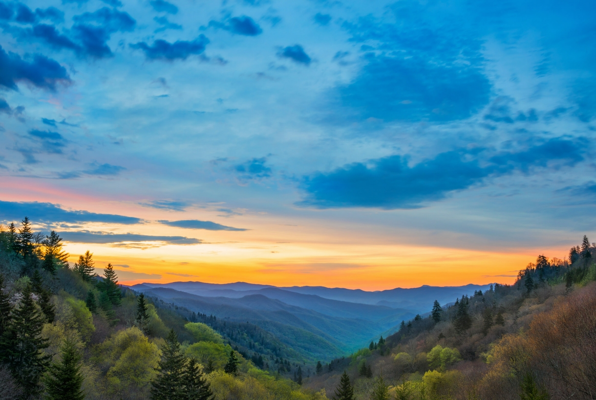 Great Smoky Mountains during a colorful sunrise