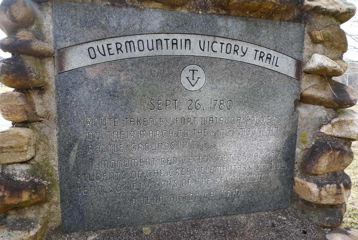 Stone marker dedicating the historic trail