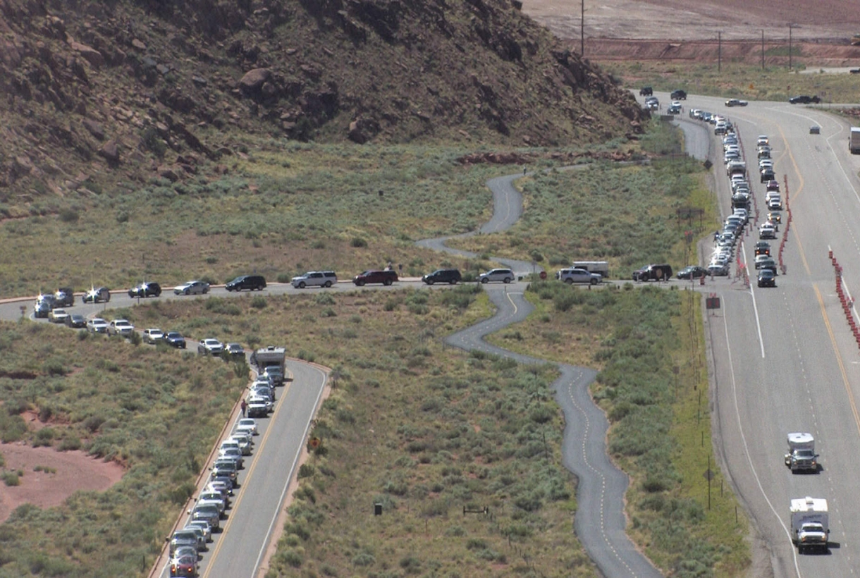 Lines of traffic at Arches National Park