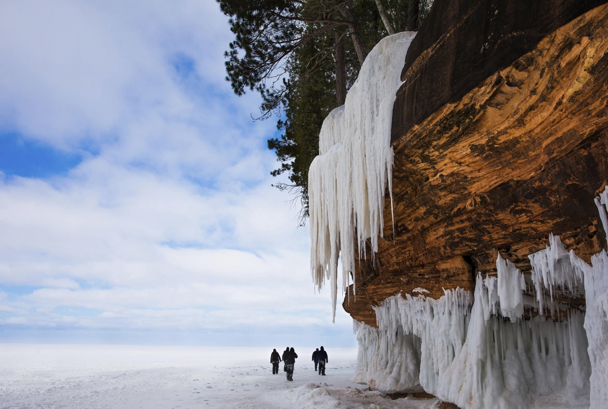 Dramatic icicles hanging from the Apostle Island ice caves