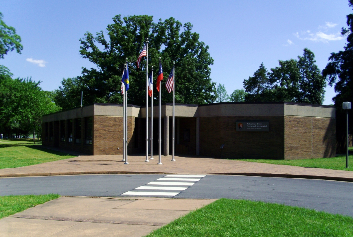 Visitor Center and Flags at Arkansas Post National Memorial