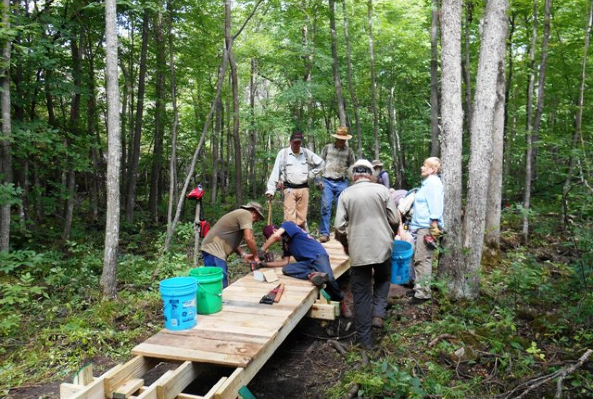 Volunteers building boardwalk on Ice Age National Scenic Trail in Wisconsin