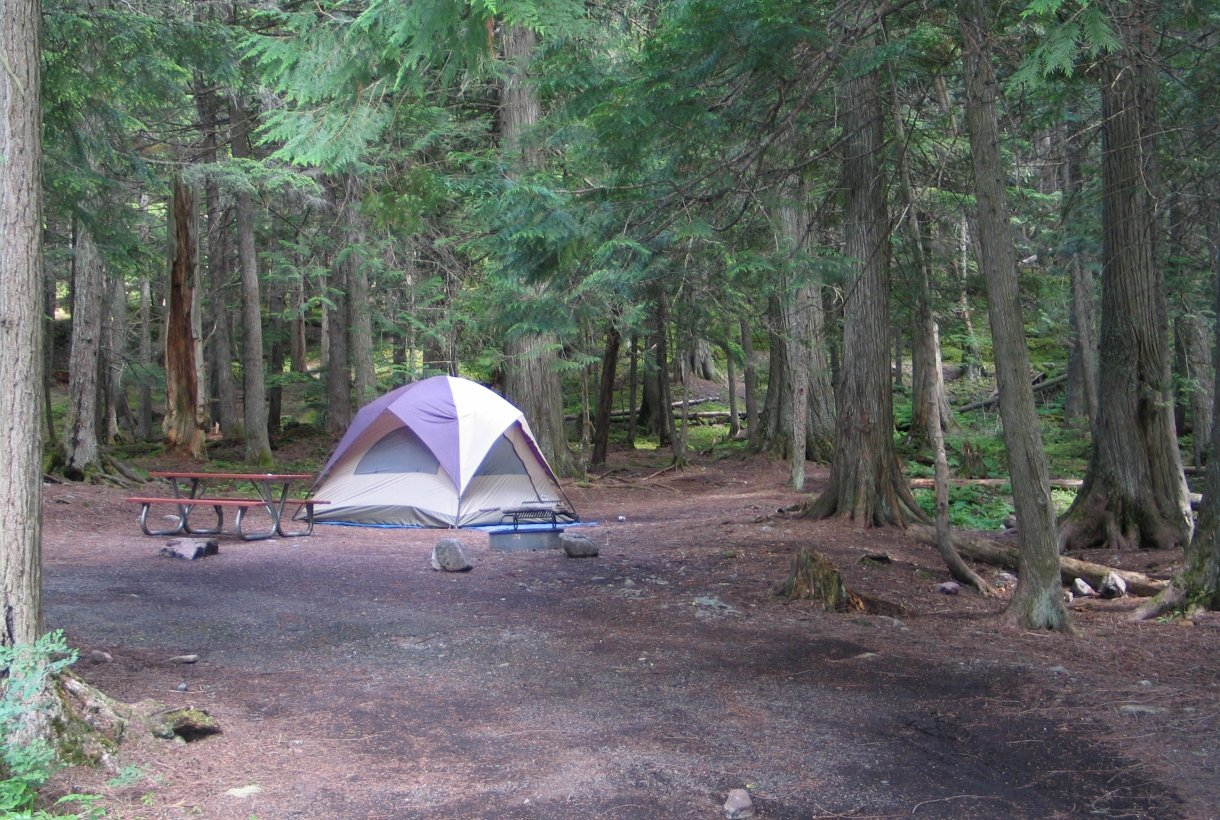 A tent at a camp site in Glacier National Park